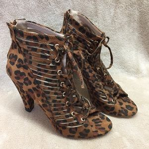 Chase & Chloe Lace Up Peep Toe Bootie Leopard